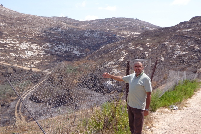 Faris Salfadi points to his olive trees chopped down in the village of Urif by Jewish settlers from the illegal settlement of Yitzhar [Al Jazeera]