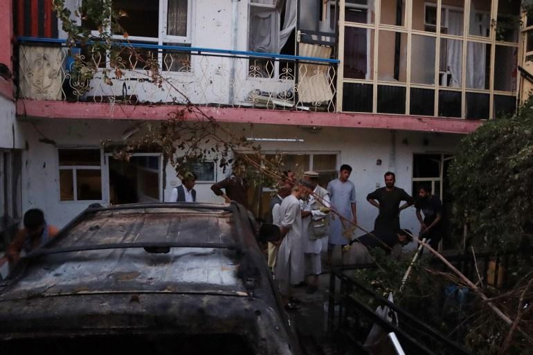 Damage at the scene of an attack near the Hamid Karzai International airport, in Kabul [EPA]