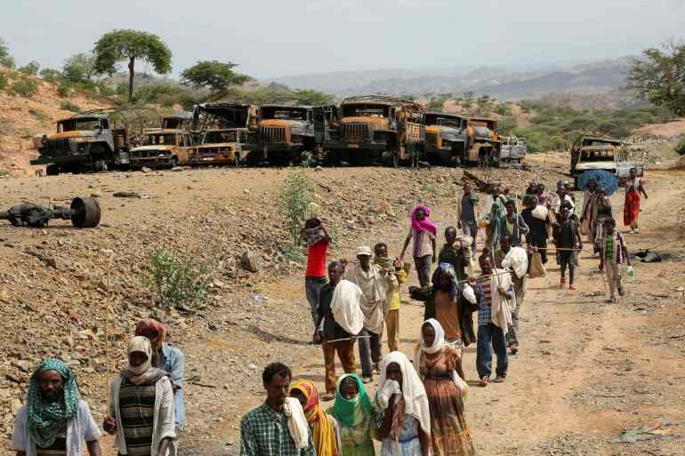 An estimated five million people are in need of humanitarian aid and more than 400,000 people are experiencing famine conditions due to the conflict in Ethiopia's Tigray region, the United States said in a statement announcing sanctions on an Eritrean Defense Forces general [File: Giulia Paravicini/Reuters]