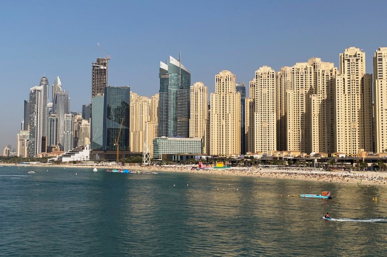 A general view of residential skyscrapers and a beach in Dubai in the United Arab Emirates, which requires plenty of energy for cooling and desalination [File: Abdel Hadi Ramahi/Reuters]