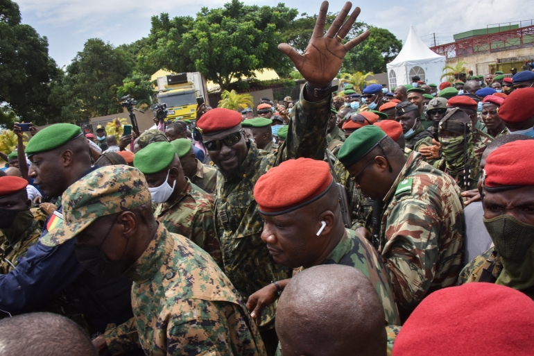 Doumbouya led the overthrow of President Alpha Conde on September 5 [File: Cellou Binani/AFP]