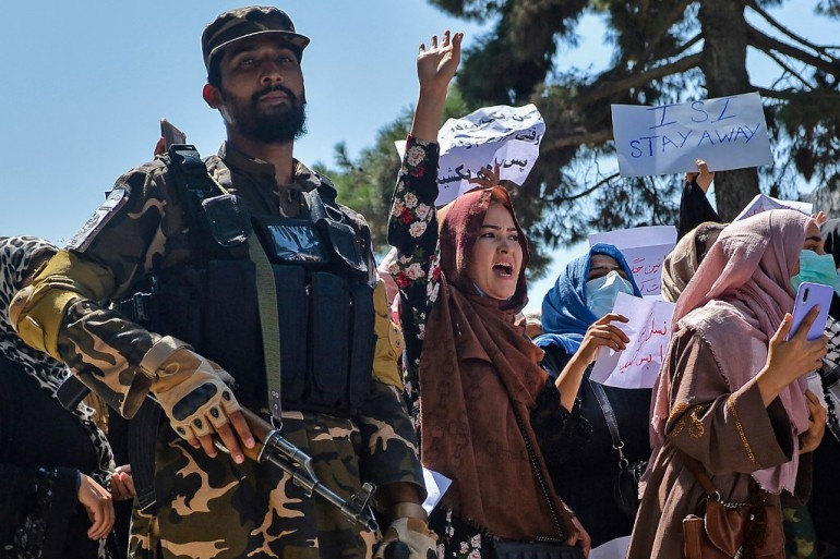 Amid growing protests against the Taliban, China has welcomed the end of 'three weeks of anarchy' in Afghanistan, adding it 'attaches great importance' to the formation of the new interim government. and the appointment of new officials [Hoshang Hashimi / AFP]