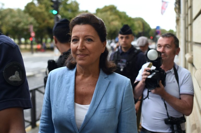 Former health minister Agnes Buzyn, who resigned in mid-February 2020 at the start of the COVID-19 epidemic, arrives at the Court of Justice of the Republic in Paris [Lucas Barioulet/AFP]