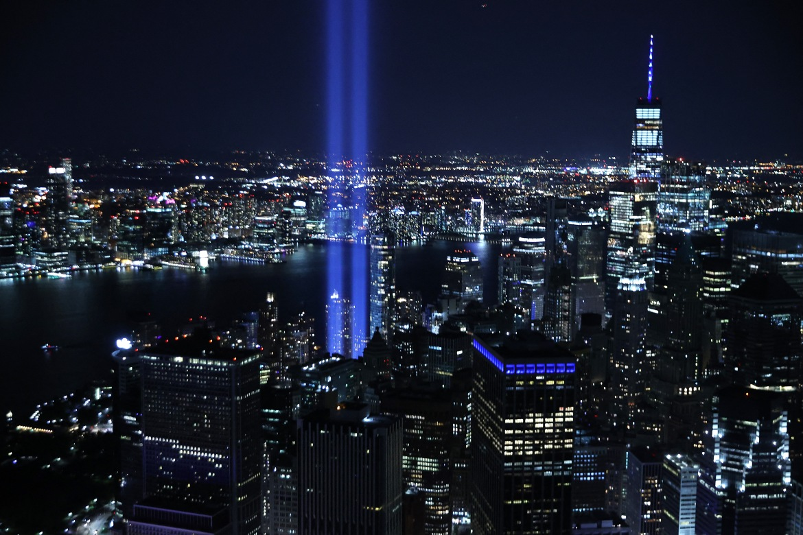 The Tribute in Light shines up from Lower Manhattan on September 11, 2021, in New York City. [Chip Somodevilla/Getty Images via AFP]