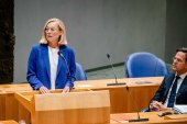 Dutch Foreign Affairs Minister Sigrid Kaag, announces her resignation, after MPs voted in favour of a motion of censure against her [Bart Maat/EPA]