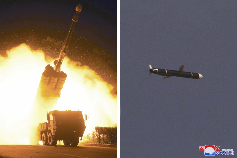In this combination of undated photos, the Academy of National Defense Science conducts long-range cruise missile tests in North Korea [KCNA via Reuters]