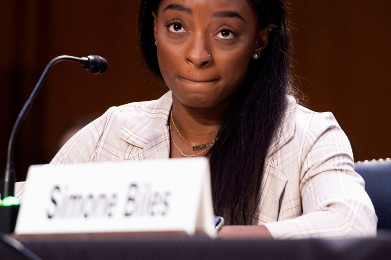 Olympic gymnast Simone Biles testifies during a Senate hearing about the FBI's mishandling of the Larry Nassar sexual abuse investigation [Saul Loeb/Pool via Reuters]