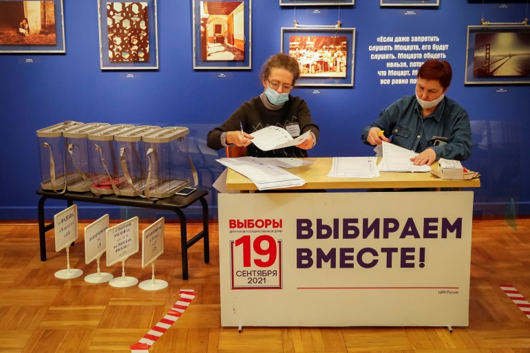 Voters will be able to cast ballots through to Sunday [Shamil Zhumatov/Reuters]