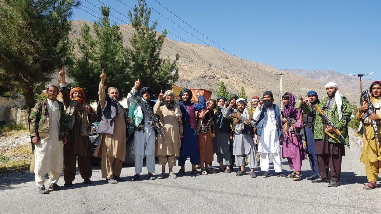 Taliban members celebrate after taking over Panjshir Valley. [Sayed Khodaiberdi Sadat/Anadolu]