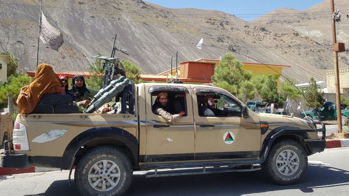 """Taliban members man the streets after they take over Panjshir Valley. """"With this victory, our country is completely taken out of the quagmire of war,"""" chief spokesman Zabihullah Mujahid said. [Sayed Khodaiberdi Sadat/Anadolu]"""