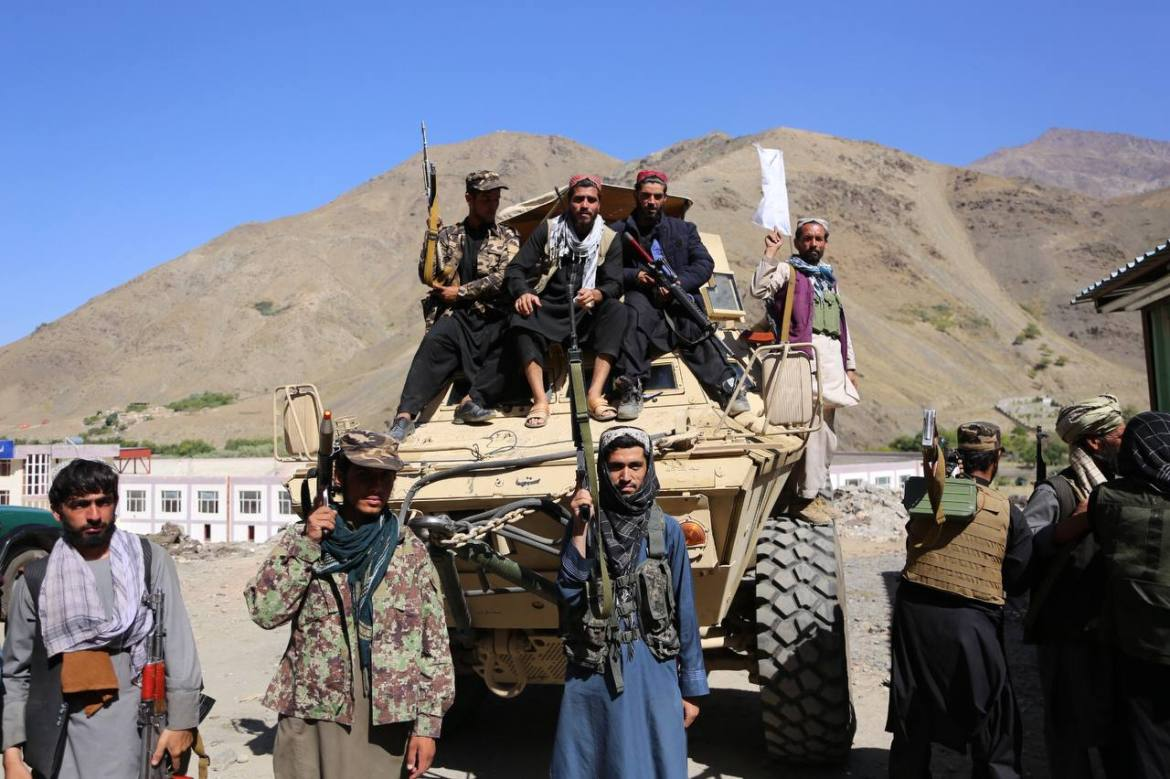 Taliban members pose for a photo after they took over Panjshir Valley. Panjshiri leader Ahmad Massoud did not concede defeat, saying his force, drawn from the remnants of the regular Afghan army as well as local militia fighters, was still fighting. [Sayed Khodaiberdi Sadat/Anadolu]