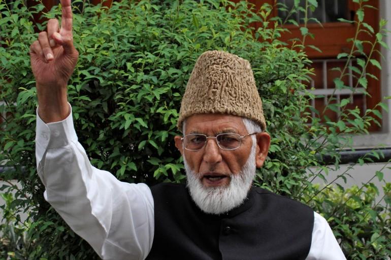 Geelani speaks during a press conference in Srinagar, Indian-administered Kashmir [File: Mukhtar Khan/AP]
