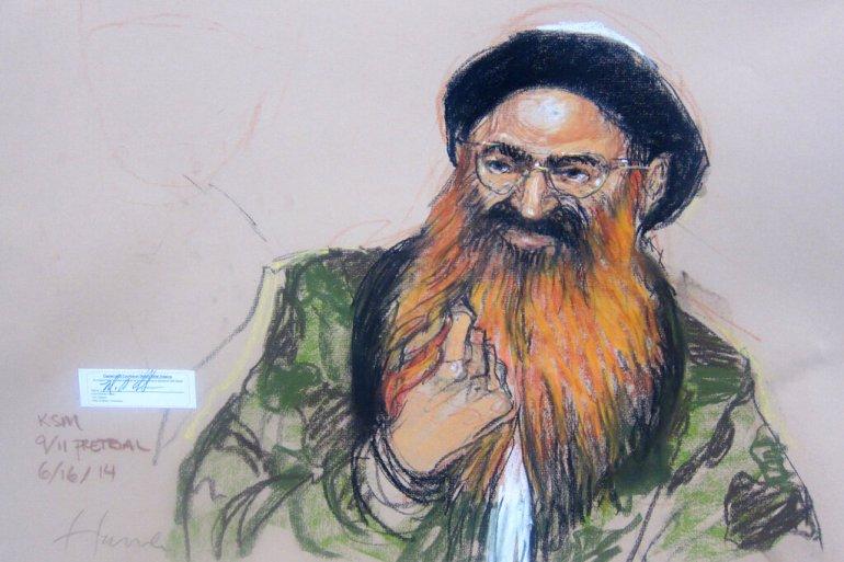 O autoproclamado mentor do 11 de setembro Khalid Sheikh Mohammed, retratado aqui em um esboço de 2014, compareceu a audiências pré-julgamento no centro de detenção da Baía de Guantánamo esta semana [File:Janet Hamlin/AP Photo via Pool]