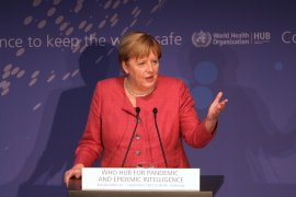 German Chancellor Angela Merkel speaks during the opening of the WHO Hub for Pandemic and Epidemic Intelligence on September 1, 2021 in Berlin, Germany. The new center's purpose is to better track world health threats and contribute towards preventing future ones. (Photo by Christian Marquardt - Pool/Getty Images) (Getty Images)