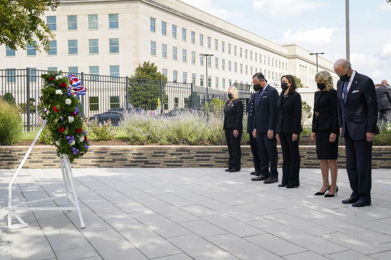 US President Joe Biden and First Lady Jill Biden, Vice President Kamala Harris and Second Gentleman Douglas Craig Emhoff attend a wreath-laying ceremony at the National 9/11 Memorial at the Pentagon in Arlington, Virginia. [Yuri Gripas via EPA]