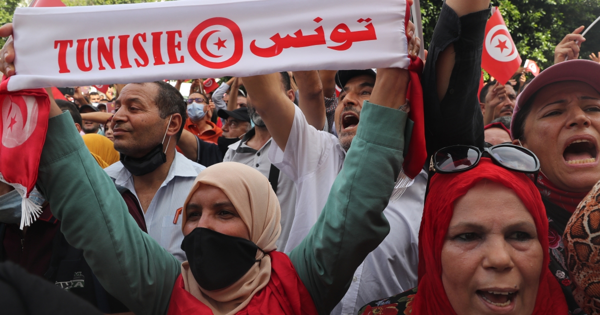 In Pictures: Mass protest as Tunisia political crisis escalates